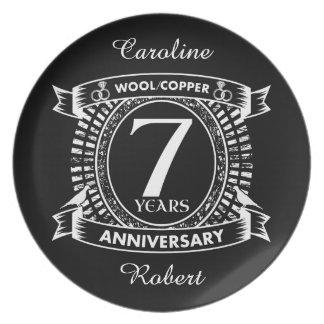Prato 7o cobre de lãs do aniversário de casamento