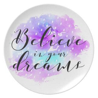 Prato A aguarela acredita em suas citações dos sonhos