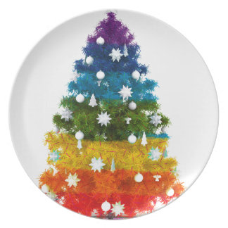 Prato a árvore do feriado do Natal colore a alegria