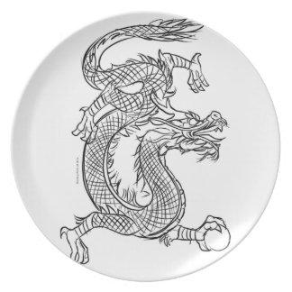 Prato A lápis chinês fantasia oriental do dragão do