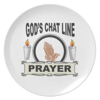 Prato a oração é linha do bate-papo dos deuses