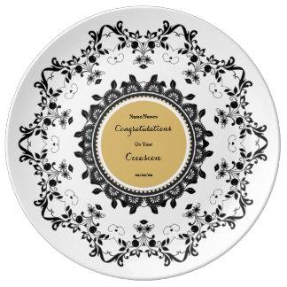 Prato A placa comemorativa elegante da porcelana edita o
