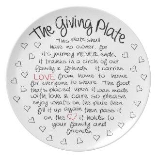 Prato A placa de doação