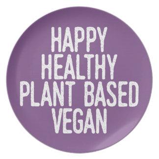Prato A planta saudável feliz baseou o Vegan (branco)