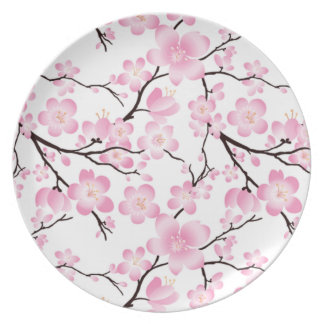 Prato a porcelana bonito do vintage da flor de cerejeira