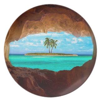 Prato Água cénico e palmeiras