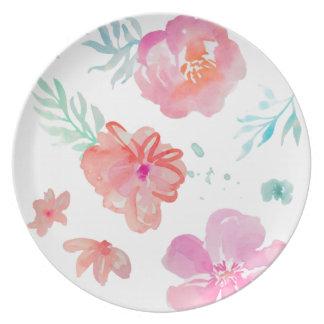 Prato Aguarela cor-de-rosa floral romântica legal &