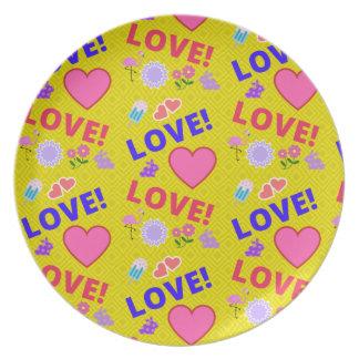Prato Amor amarelo - placa da rocha 80s
