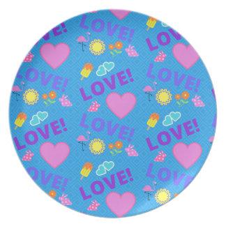 Prato Amor azul - placa da rocha 80s