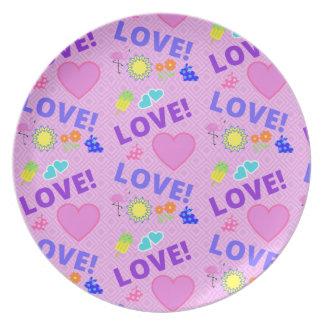 Prato Amor cor-de-rosa - placa da rocha 80s