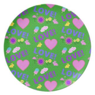 Prato Amor verde - placa da rocha 80s