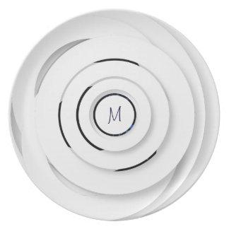 Prato Anéis brancos de sobreposição - falso 3D - placa
