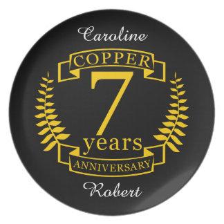 Prato Aniversário de casamento de cobre 7 anos