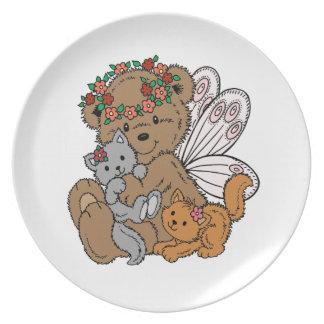 Prato Anjo do urso com gatinhos