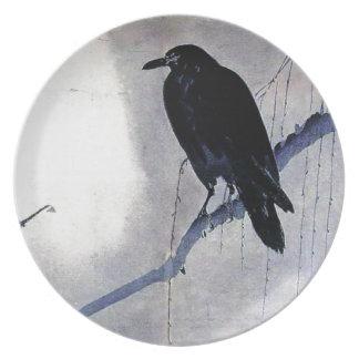 Prato Antiguidade preta do pássaro do corvo