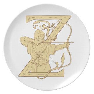Prato Arqueiro medieval que aponta o desenhar da letra Z