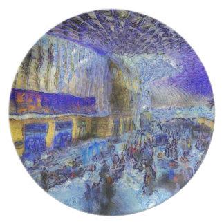 Prato Arte de Londres da estação dos reis trilho
