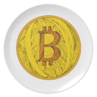Prato Arte do Doodle de Bitcoin