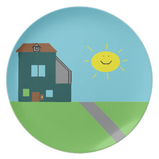 Prato Arte do miúdo - céu & luz do sol da casa