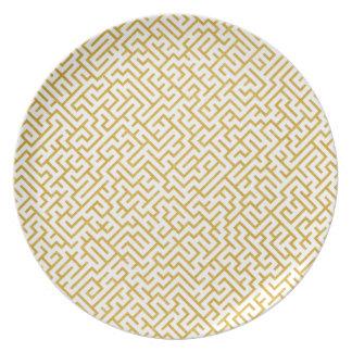 Prato Arte moderna elegante do labirinto - ouro & branco