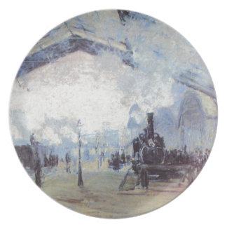 Prato Arte popular do vintage do estação de