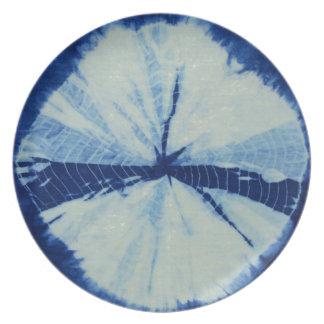 Prato Arte redonda do círculo do índigo de DSC03486.JPG