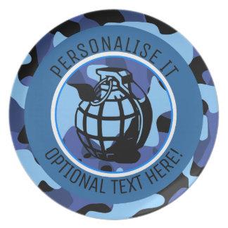 Prato As forças armadas azuis camuflam com granada