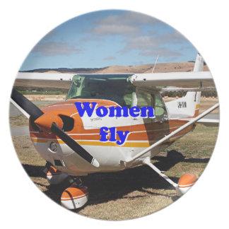 Prato As mulheres voam: aviões altos da asa
