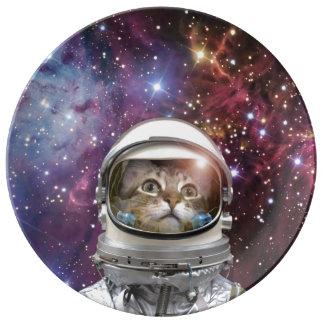 Prato Astronauta do gato - gato louco - gato