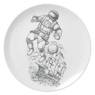 Prato Astronauta Tethered ao tatuagem de Caravel