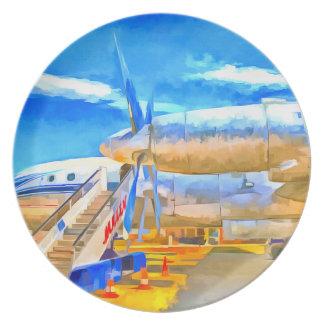 Prato Avião de passageiros do russo do pop art