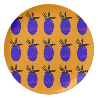Prato Azul do ouro dos ananases do design