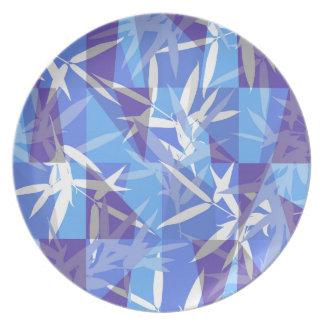 Prato Bambu no teste padrão geométrico azul