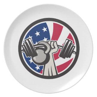 Prato Bandeira americana de Kettlebell EUA do Barbell da