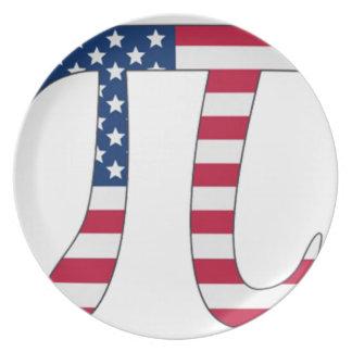 Prato Bandeira americana do dia do Pi, símbolo do pi