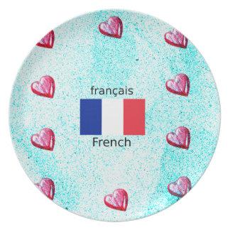Prato Bandeira de France e design da língua francesa