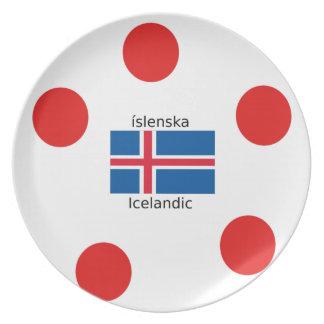 Prato Bandeira de Islândia e design islandês da língua