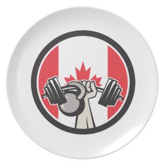Prato Bandeira de levantamento de Kettlebell Canadá do
