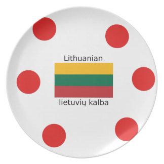 Prato Bandeira de Lithuania e design lituano da língua