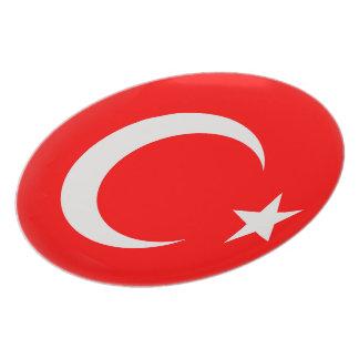 Prato Bandeira vermelha de Turquia & branca turca