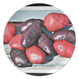 Prato batatas vermelhas e roxas