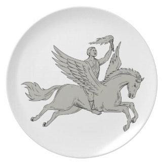 Prato Bellerophon que monta Pegasus que guardara o