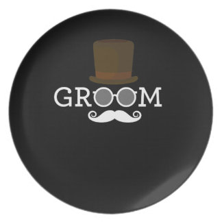Prato Bigode & chapéu engraçados do noivo para o partido