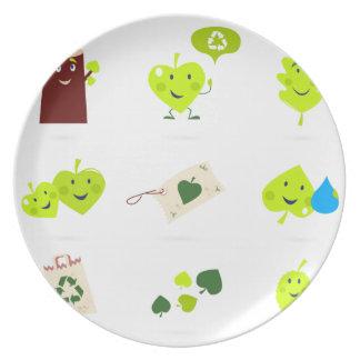 Prato Bio verde bonito dos ícones dos miúdos