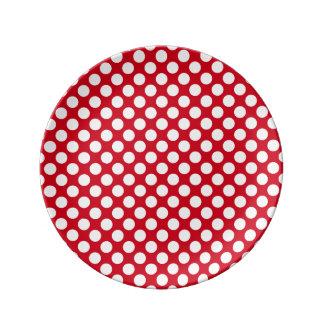 Prato bolinhas brancas na placa vermelha da porcelana