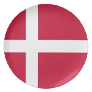 Prato Bom impressão da bandeira de Dinamarca da cor