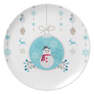 Prato Boneco de neve com as decorações de suspensão do
