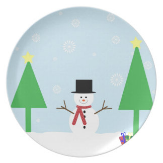 Prato Boneco de neve do Natal