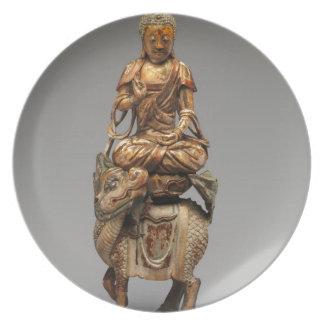 Prato Buddha Shakyamuni com bodhisattvas assistentes