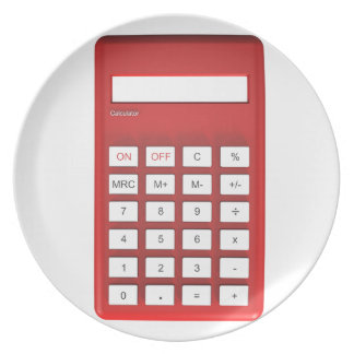 Prato Calculadora vermelha da calculadora